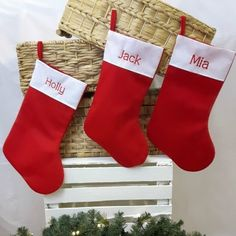 Personalised Christmas Stocking. Classically Festive - Traditional Red and White Felt with embroidered names. WowWee.ie | €10.00