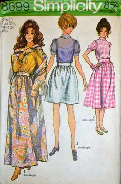 Vintage Sewing Pattern Simplicity 8699 Misses' Blouse, Skirt and Shawl Size 10 B 32  Complete by GoofingOffSewing on Etsy $7.50