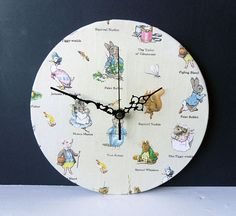 Fabric Wall Clock Decoupage Beatrix Potter Fabric by NaturalClocks, £15.00