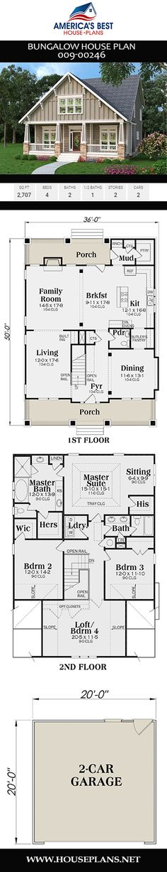 European House Plan - An outstanding exclusive sq. Bungalow House Plans, Craftsman House Plans, House Floor Plans, House Plan With Loft, Narrow Lot House Plans, European Plan, European House Plans, California Bungalow, Building A Tiny House