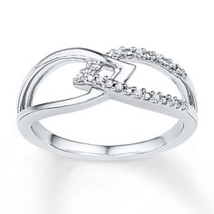 Midi Leaf Ring Diamond Accents Sterling Silver