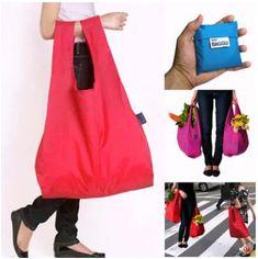 Folding Shopping Bag Japanese BAGGU Reusable ECO Foldable Square Pocket Storage Bags Candy colors Supermarket Handle Carrier