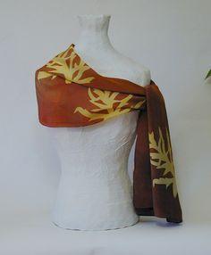 Oak Leaves Silk Scarf by PeregrineSilk on Etsy, $75.00