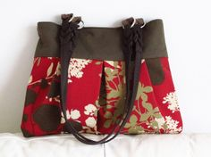 Brown and red pleated purse handbag by madebyHULDA on Etsy, $25.00