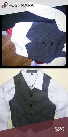 3pc boys suit Includes long sleeve lavender button up shirt, black slacks, and stripe vest. Size boys 4t Matching Sets