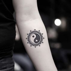 hippie tattoo 380906080981562611 - Mandala Yin Yang Temporary Tattoo Sticker (Set of Source by OhMyTat Yin Yang Tattoos, Ying Und Yang Tattoo, Ying Y Yang, Yin And Yang, Yin Yang Art, Geometric Sleeve, Geometric Flower, Fake Tattoos, Tiny Tattoo