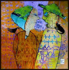 """Elke Trittel """"Les mots du chef..."""" acrylic,collages on paper  25x25cm"""