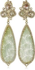 Sutra One of a Kind Gold Green Jade and Diamond Drop Earrings. ~ of Intricately carved out Lace Green Jade. The jade used in this piece is one of a kind. Jade Jewelry, Jewelry Art, Jewelry Accessories, Jewelry Design, Jewellery, Diamond Drop Earrings, Dangle Earrings, Jade Earrings, Green Diamond