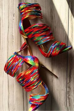 Shoespie Colorful Strappy Stiletto Heel Sandals