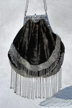 Vintage 20's deco flapper velvet hand beaded purse silver beads