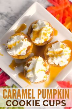 You won't believe how easy these caramel pumpkin cookie cups are to make! They are the perfect treat for Fall parties. Baking Recipes, Cookie Recipes, Dessert Recipes, Easy Sweets, Easy Desserts, Fall Recipes, Holiday Recipes, Thanksgiving Recipes, Finger Food Desserts