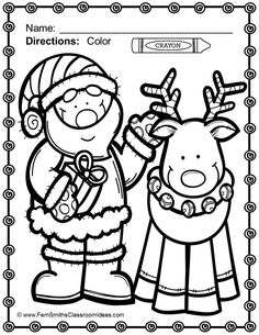 #FREE Color for Fun Santa and His Reindeer Freebie in the Preview! **Just Published** 20% OFF on Sale Too! Christmas Fun! Color For Fun Printable Coloring Pages {70 pages makes it a little under 8 cents a page!} #TPT #Christmas $Paid