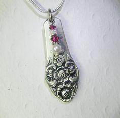 Spoon Necklace Spoon Pendant Ruby Swarovski by SpoonfestJewelry Spoon Necklace, Bib Necklaces, Polymer Clay Necklace, Fork Jewelry, Jewlery, Jewelry Crafts, Jewelry Art, Unique Jewelry, Silverware Jewelry