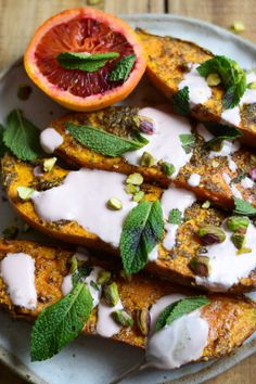 ZA'ATAR ROASTED SWEET POTATOES WITH BLOOD ORANGE YOGHURT AND MINT