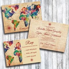 Invito a nozze a tema con RSVP carte di viaggio di HeyGurlStudio
