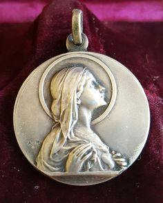 Vintage Spanish Blessed Virgin Pendant Medal Medallion Art Nouveau Virgin Mary Catholic Hallmarked A. y P. Signed Communion Confirmation by PinyolBoiVintage on Etsy