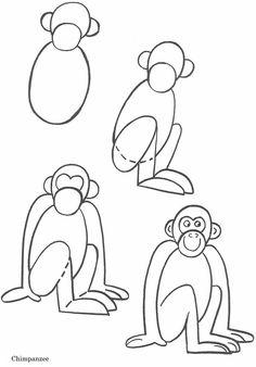 Aprender a dibujar fácilmente un mono. - easly learn to draw a monkey