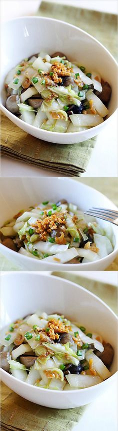 Garlic napa cabbage - shredded napa cabbage with garlic oil and mushroom. So easy, healthy and delicious | rasamalaysia.com