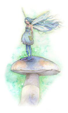 ✯ Aqua Blue Fairy - Sweetly Resting on a Mushroom with Fairy Dust :: Etsy Shop Sarambutcher ✯ Magical Creatures, Fantasy Creatures, Fairy Dust, Fairy Tales, Dragons, Kobold, Elves And Fairies, Butterfly Fairy, Blue Fairy