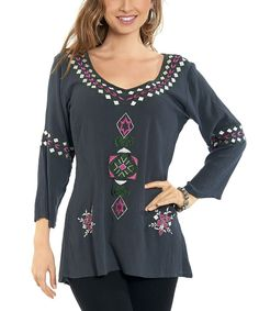 Look at this Luv2Luv Gray & Pink Embroidered Tunic - Women on #zulily today!