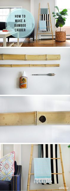 A bamboo ladder is a great home accessory that is functional &decorative! Plus, this DIY is simple to make and costs $20 in materials. A tidy way to hang blankets, towels, or magazines, and acts as a chic decorative accent when propped against a blank wall. How-to instructions here:   http://www.ehow.com/how_6151180_make-bamboo-ladder.html?utm_source=pinterest.com&utm_medium=referral&utm_content=freestyle&utm_campaign=fanpage