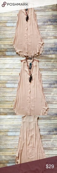 Embroidered Sleeveless Tunic Dress or Long Top Beautiful latte orange color embroidered tunic dress. Wear it as a dress bikini top or pair it with jeans and white tee for trendy look. High quality. 100% rayon. True to size Ina Dresses Midi