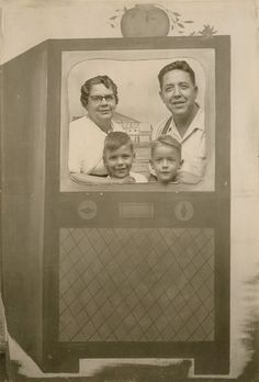 Vintage novelty arcade photo - family in a television set Vintage Photo Album, Vintage Photo Booths, Vintage Television, Television Set, Vintage Photographs, Vintage Photos, Fair Games, Camera Shy, Paper Moon