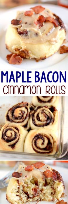 Bacon Maple Cinnamon Rolls - this easy cinnamon roll recipe has super fluffy dough filled with a buttery brown sugar mixture and BACON! The maple syrup glaze is perfect with the bacon on top! Homemade cinnamon rolls are so easy! Bacon Recipes, Brunch Recipes, Breakfast Recipes, Bakery Recipes, Breakfast Ideas, Cooking Recipes, Bacon Cinnamon Rolls, Maple Bacon, Bacon Breakfast