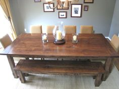 I've always loved these tables! Farmhouse Table Finished. would want chairs all around instead of the bench though