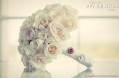 WedLuxe: bride's white and blush #rose #bouquet