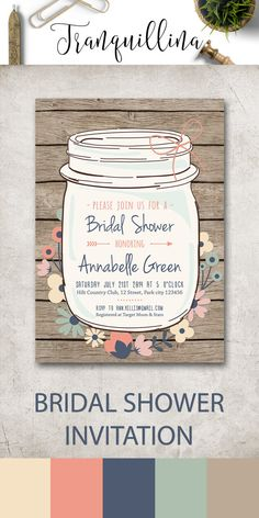 Rustic Bridal Shower Invitation Printable, Mason Jar Bridal Shower Invitation, Mason Jar Birthday Invitation, Fall Bridal Shower Invitations. Wood and watercolor flowers. More invitations at: tranquillina.etsy.com