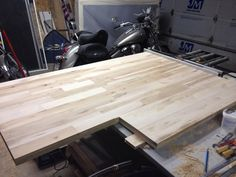 Maple counter top-from hardwood flooring.