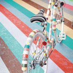 Colorful Japanese Masking Tape. fun way to update an old bike