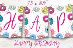 Donut birthday banner, Donut instant download party banner, You print birthday banner, Donut DIY party banner Diy Party Banner, Diy Donuts, Party Printables, Birthday Celebration, Twine, First Birthdays, Card Stock, Paper, Handmade Gifts