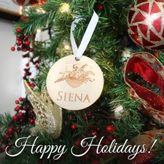 #HappyHolidays from #SienaFarm!   Have you had any personalized ornaments made for your farm or favorite horse? Share a photo of them on your tree!