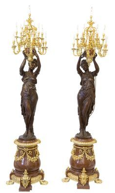 A PAIR OF MONUMENTAL FRENCH NAPOLEON III STYLE BRONZE, GILT BRONZE AND MARBLE FIGURAL THIRTEEN-LIGHT TORCHERES Unknown maker, probably Paris, France, late 20th century.