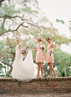 Pale pink / peach bridesmaid dress, elegant timeless & perfect, even I know weddings shouldn't have loud or bold colors - Click image to find more weddings posts