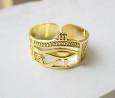 Gold Eye of Horus Ring - Egyptian Ring - Egyptian Jewelry Cartouche Jewelry Egyptian Gold Cartouches