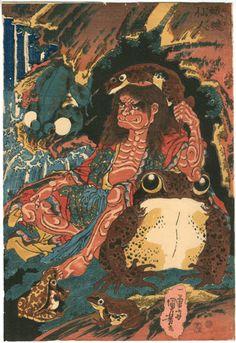 国芳 Kuniyoshi 『蝦蟇仙人』【浮世絵 妖怪・幽霊 Ukiyo-e Ghost/Monster】森宮古美術*古美術もりみや