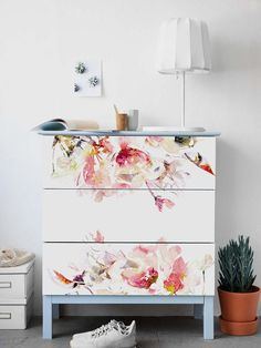 Decals for MALM Dresser ikea Spring Floral Stickers PACK OF 3 Ikea furniture Abstract Repositionable Covering Peel and stick Retro Furniture, Painted Furniture, Diy Furniture, Furniture Design, Floral Furniture, Furniture Websites, Luxury Furniture, Furniture Dolly, Inexpensive Furniture