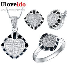 Find More Jewelry Sets Information about Crystal Rings for Women Black Wedding Jewelry Sets 925 Sterling Silver Necklace Set with Heart Earrings Ring Size 8 Ulove T174,High Quality jewelry with chinese symbols,China jewelry hanger Suppliers, Cheap jewelry green from ULOVE Fashion Jewelry on Aliexpress.com