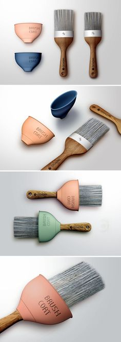 Just a simple silicone sleeve that slides over the brush handle, this scoop shaped cone collects all the paint that drips downwards. Simple and delightful!
