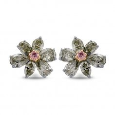Fancy Vivid Pink & Yellowish Gray Diamond Earrings, SKU 240857 (2.06Ct TW)