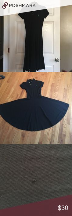 Dress A black Ralph Lauren dress. It has a flair bottom that makes it a fun dress that can also be classy. It has small belt loops, making it possible to dress it up with a belt or keep it simple without one. It has a small pick on the torso (picture 3). Well loved and cared for with price accounting wear. Thanks for looking!! 😊 Ralph Lauren Dresses
