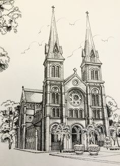Pen and ink building sketch, building art, building tattoo, gothic architecture, romanesque Cathedral Architecture, Renaissance Architecture, Gothic Architecture, Landscape Pencil Drawings, Art Drawings Sketches, Landscape Art, Building Drawing, Building Sketch, Building Tattoo