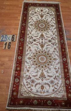 "2'6""x'6 Runner Hand-knotted 200 kpsi Silk Oriental Persian Tabriz Rug 9446"