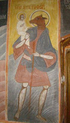 """St. Christopher. Romania, Biserica """"Nașterea Domnului"""" din Sărata."""