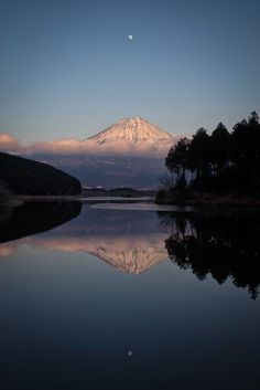 Mount Fuji and the Moon Reflected Photo by Yuga Kurita -- National Geographic Your Shot