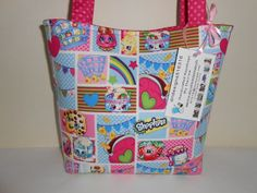 Kids Girls Shopkins Pink Cotton Fabric Handmade Handbag Purse Tote New #Handmade