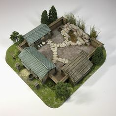 It's an onsen (spa) for the sengoku period. Sengoku Period, Japanese Buildings, Fantasy City, Wargaming Terrain, Japanese House, Miniature Houses, Table Games, Craft Stick Crafts, Decoration